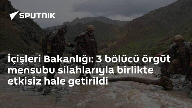 İçişleri Bakanlığı: 3 bölücü örgüt mensubu silahlarıyla birlikte etkisiz hale getirildi