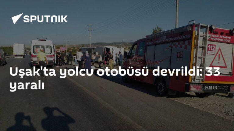 Uşak'ta yolcu otobüsü devrildi: 33 yaralı